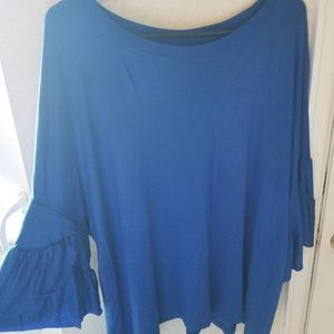 Blue cotton 3/4 Sleeve ruffle boat neck top 18/20